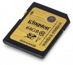 Карта памяти Kingston SDXC 64 Gb Class 10 (SDA10/64GB)